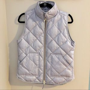 J Crew Silver Puffer Vest (NWT)